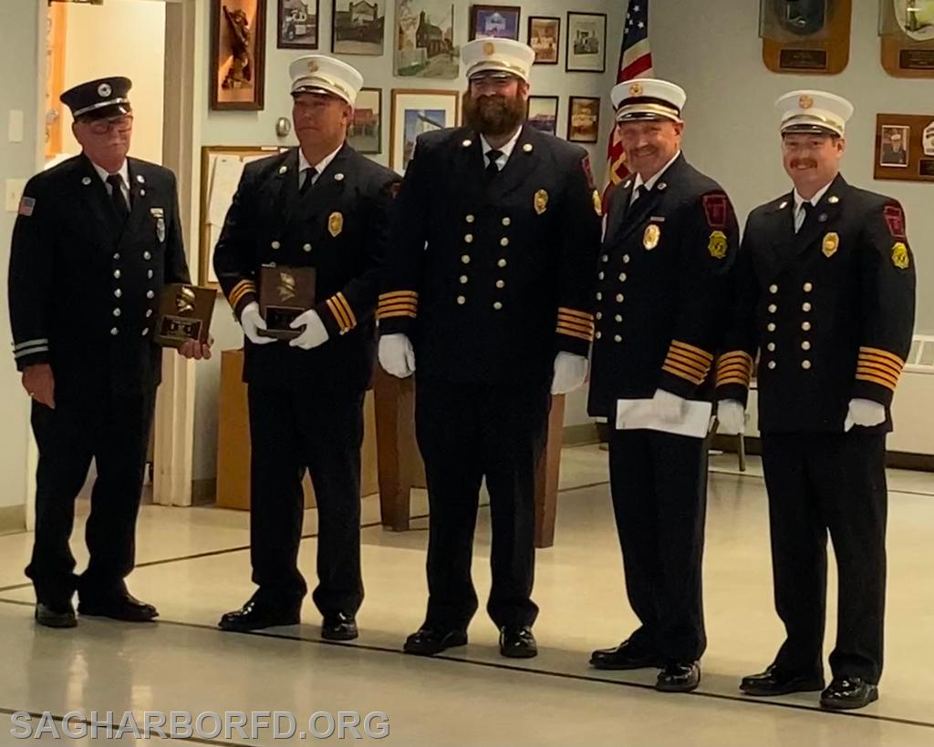Firefighter of the Year Nominees  Left to Right: Howard Kleinsmith III, Andrew Blodorn, Michael Guyer, Steven Miller, Kevin O'Brien Jr