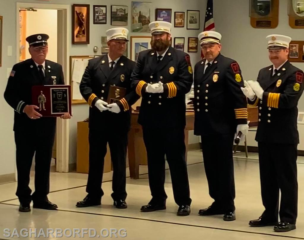 Firefighter of the Year Left to Right: Howard Kleinsmith III, Andrew Blodorn, Michael Guyer, Steven Miller, Kevin O'Brien Jr